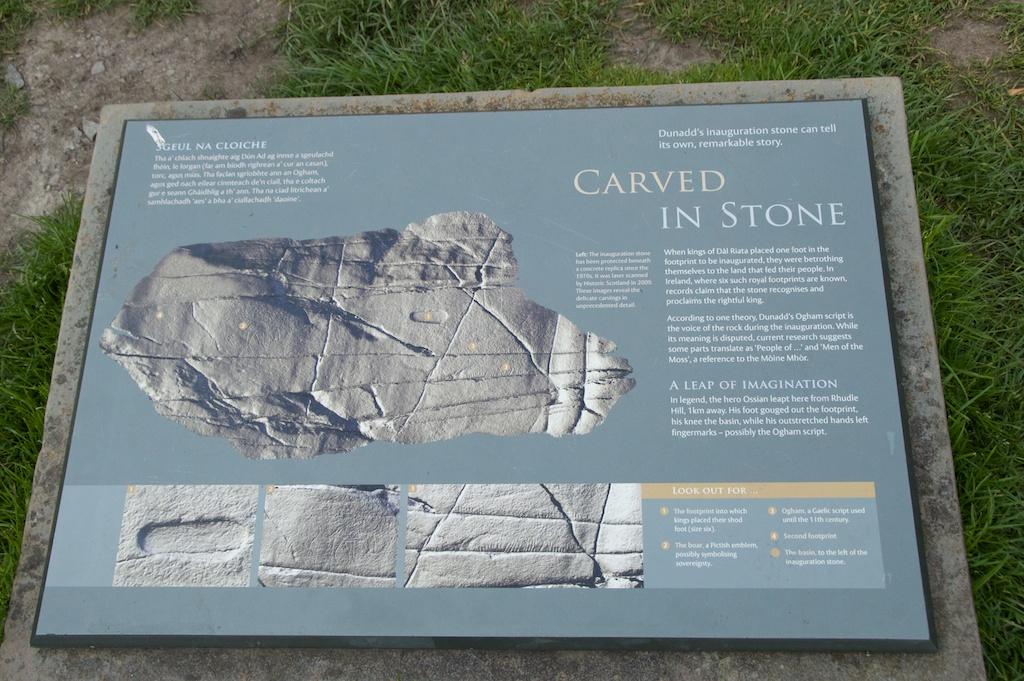Dunadd inauguration stone - sign