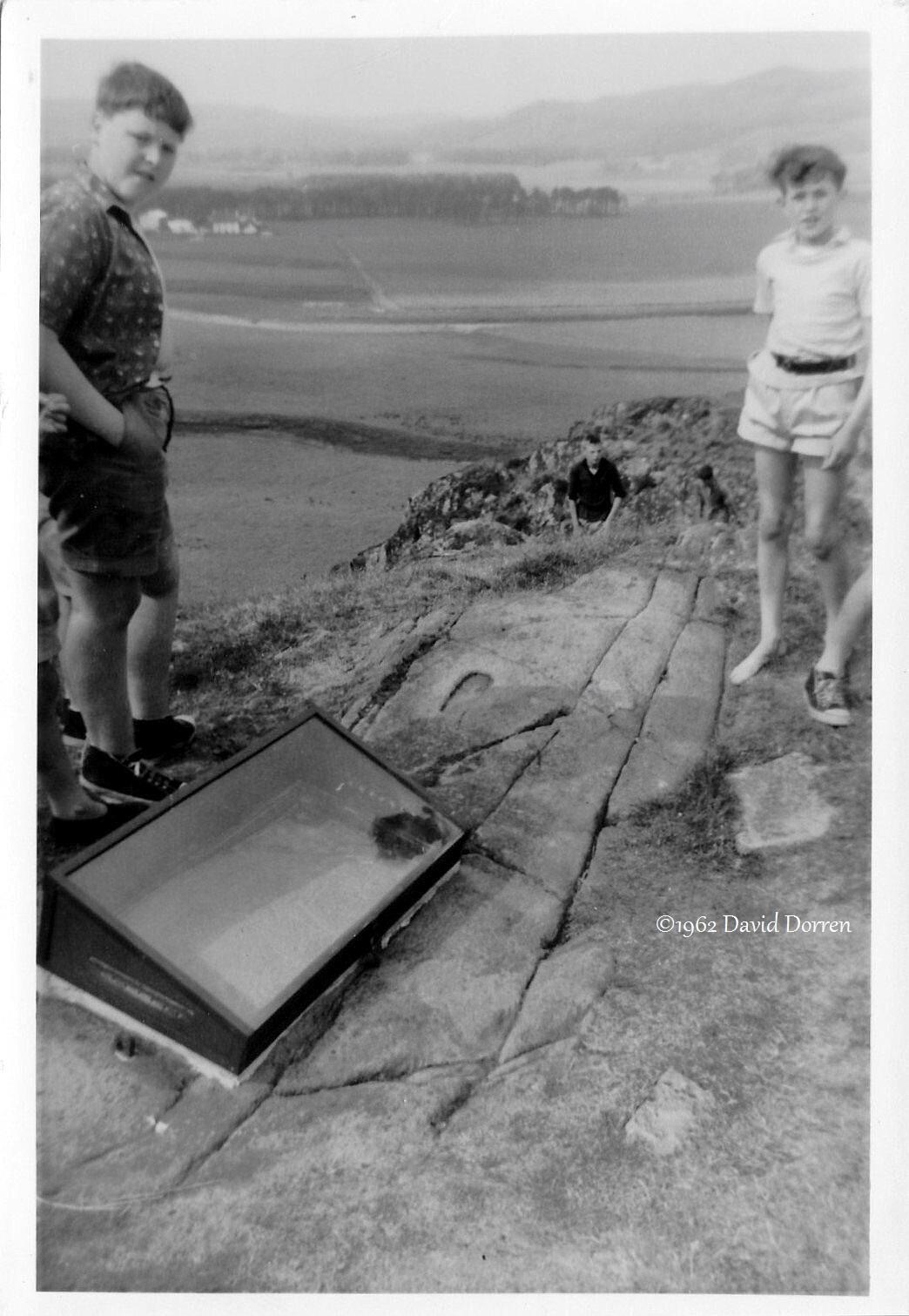 1962 photo by David Dorren of Barnakill camp, Dunadd